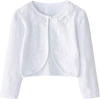Sinmoocy Girls Long Sleeve Lace Flower Bolero Shrug Jacket Short Cardigan Dress Cover up 1-9 Years