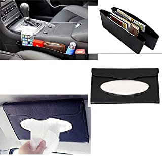 3A Featuretail Combo of Car Seat Catcher, Set of 2 Car Organizer Black Color and Sun Visor Tissue Box Holder (Black Color) with Tissue Included