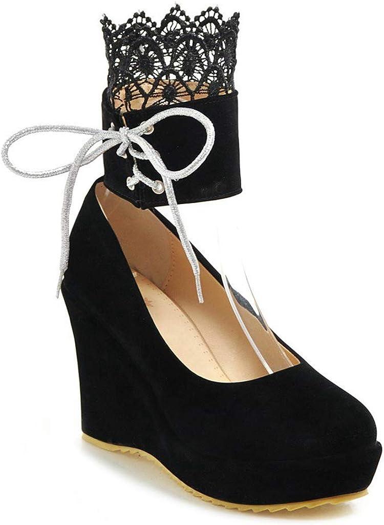 MIOKE Women's Fashion Wedge Very popular Super intense SALE Platform Pumps Round Suede High Heel