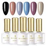 BORN PRETTY Juego de esmalte de uñas de gel UV Nail Art Gel Soak Disappear Pure Color Design Juego de 6 botellas (Set2)