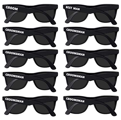 Bachelor Party Supplies - Bulk Wedding Sunglasses for Team Groom. The Groom, Best Man, Groomsman Bachelor Party Favor (10)