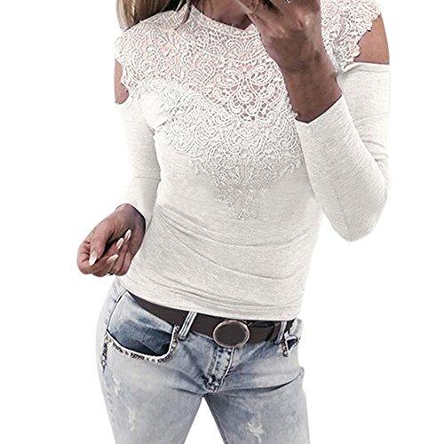 OVERDOSE Damen Langarm O Hals Spitze Patchwork Sweatshirt Bluse Pullover Frühling Spitze Sommer Tops Pulli(A-White,38 DE/M CN)