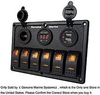 6/8 Gang 12V Rocker Switch Panel for RV Marine Car Vehicles Truck Boat Waterproof, Digital Voltmeter Display Dual USB Charger Port DC 12V Socket 12/24V Red/Blue/Orange Lighted Switches with 15A Fuse
