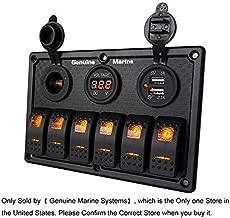 4/6/8 Gang 12V/24V Contura Rocker Switch Panel for RV Marine Car Vehicles Truck Boat Waterproof w/no 15A Fuse, Digital Voltmeter Display, Dual USB Charger Port, DC 12V Socket, Red/Blue/Orange Light