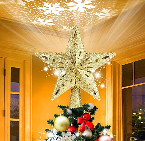 Samyoung Christmas Tree Topper, Glitter Star Tree Topper Decoration with Rotating Snowflake Projector, Christmas Tree Decorations for Home Bar Shop Office