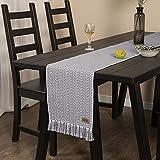 UKOBÁN Deko Tischläufer grau weiß/Wohnzimmer Dekoration/Boho Retro Tischdecke Tischset/Schlafzimmer Küche / 30x150 cm - 4
