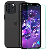 zelaxy iPhone 12 / iPhone 12 Pro case with Screen Protector,Crystal Clear Transparent Slim Hard Shell Luxury Protective Electroplated Cover Case for iPhone 12 / iPhone 12 Pro 6.1 inch (Black)