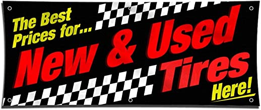 Best Prices New & Used Tires Banner (2ft X 5ft) Black Red Vinyl Display Various Bright Color Sign Poster Lona