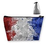 Bandera de Francia Color Splash Mujeres Bolsas de cosméticos Bolsa portátil Bolsa de Almacenamiento Trapezoidal Bolsa de Viaje con Cremallera