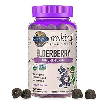 Garden of Life mykind Organics Elderberry Gummies - Immune Support Supplement with Organic Fruit & Herbal Blend of Elderberry Echinacea Zinc Vitamin C - 120 Vegan Non-GMO & Gluten Free Gummies