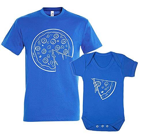 Colour Fashion Pizza et Tranche Papa Père Fils Fille Ensemble Assorti T-Shirt Body Drôle Cadeau Bleu - Bleu, Men S - Baby 3-6 Months