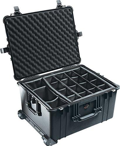 PELI 1620 Widerstandsfähiger Rollenkoffer mit Teleskopgriff und Gepolstertem Einteilungssystem, IP67 Wasser- und Staubdicht, 72L Volumen, Hergestellt in Deutschland, Schwarz