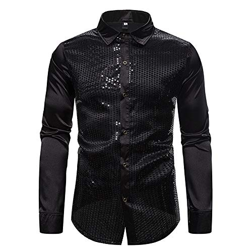 SALEBLOUSE Mens Dress Shirt Silver Sequins Long Sleeve Button Down 70s Disco Party Costume Cowboy Shirts Casual Vintage Embroidered Western Shirt Blouse Coat Tops Sweatshirts Cardigan with Pockets