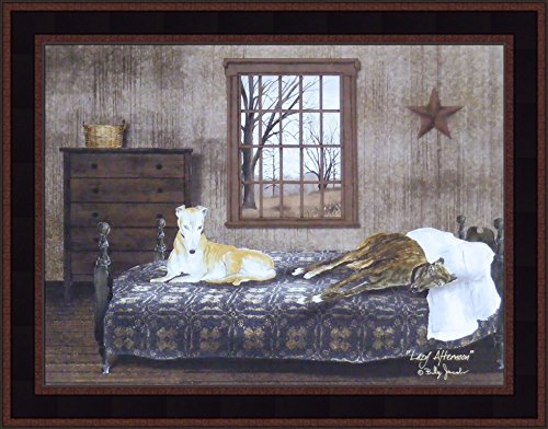 Lazy Afternoon by Billy Jacobs 15x19 Greyhound Dogs Laying On Bed Rustic Primitive Folk Art Wall Décor Framed Picture