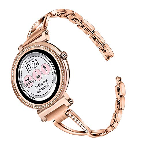 TRUMiRR Watchband For Michael Kors Women's Access Runway / Sofie / Sofie HR Touchscreen Smartwatch, 18mm Diamond & Stainless Steel Watch Band Quick Release Strap for MK Access Gen 4 / Gen 3 Sofie