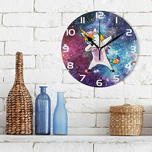 ALAZA Cool Dabbing Unicorn Clock Acrylic Painted Silent Non-Ticking Round Wall Clock Home Art Bedroom Living Dorm Room Decor