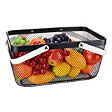 IBERG Metal Wire Basket with Handles Multi-functional Hanging Basket - Solutions for Kitchen, Garden and More (Black)
