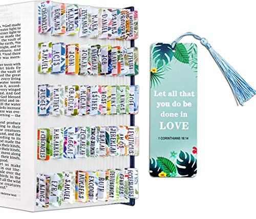 JMIMO Bible Tabs Index for Old & New Testaments (Include 66 Bible Tabs and 24 Blank Tabs) Summer Style Bible Stickers for Women Girls