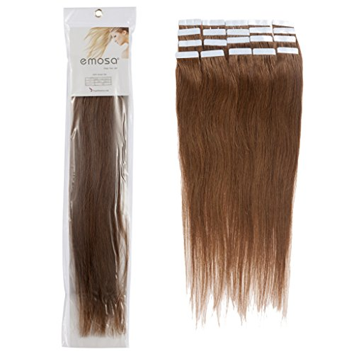20 inch Emosa Remy Stright PU Tape Skin Seamless Human Hair Extensions #06 Brown 50g