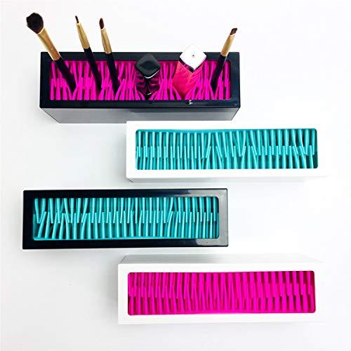 Rack de stockage de maquillage portable coloré multifonctionnel de boîte de rangement de brosse de maquillage (White+Blue)