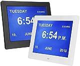 GUOOK Moderne Wetterstationen 8-Zoll-LED-Digitalkalender Wecker Großbuchstaben Multimedia Extragroße Nicht abgekürzte extragroße Digitaluhr mit eingeschränkter Sicht