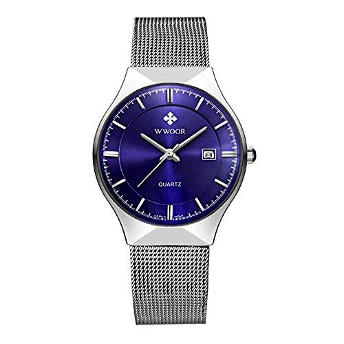 WWOOR Herren Analog Quarzwerk Uhr mit Edelstahl Armband Wasserdicht Kalender 8016 Blau