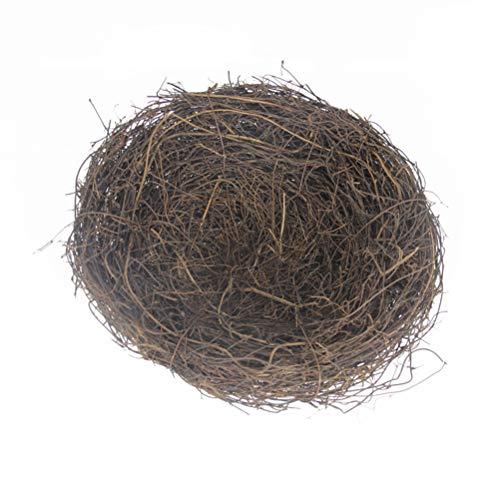Amosfun Vogel Nest Dekoration handgefertigte Ostern Rattan Vogel Nest kreative Ornamente für Hausgarten
