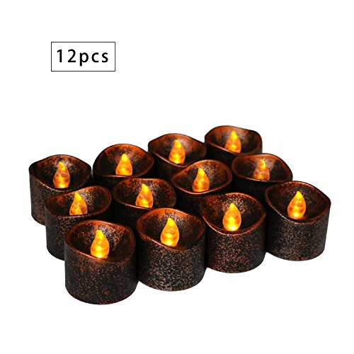Advocator Black Flameless Candles Small Electric Tea Lights Battery Operated Fake Candles Vintage Votives Tealight Candles for Halloween Festival Home Decorations Holiday Centerpiece Reception 12pcs