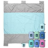 WildHorn Outfitters Sand Escape Beach Blanket. Compact Outdoor Beach Mat Made from Strong Parachute Nylon. Large 7' x 9' Size. Includes Built in Sand Anchors