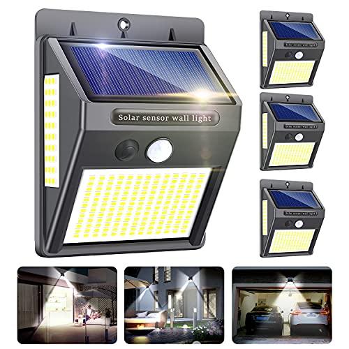 Luz Solar Exterior,Innosinpo【2021 Ultimo Modelo 4 Pack 216 LED】Focos Solares Exterior con Sensor de Movimiento,Luces LED Solares Exteriores 300º Iluminación,Impermeable Lampara Solar para Garaje,Patio
