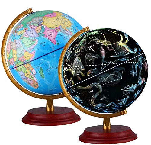 Illuminated World Globe for Kids With Wooden base Night View Stars...