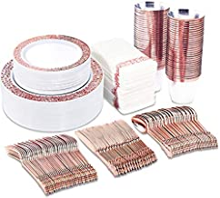 BUCLA 350PCS Rose Gold Plastic Plates With Disposable Plastic Silverware& Napkins- Rose Gold Rim Plastic Dinnerware Lace Design For Weddings And Parties