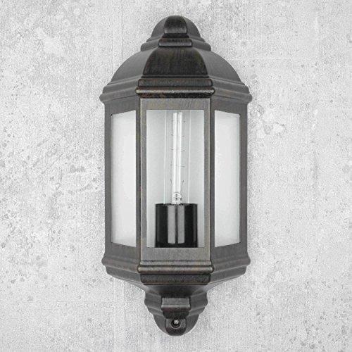 Luminaria para exterior LIVORNO Negro Marrón E27 IP44 Aplique para exterior Balcón Puerta