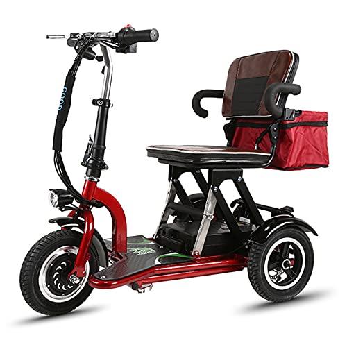 YX-ZD Patinete Eléctrico De Movilidad De 3 Ruedas Patinete Eléctrico Plegable De 3 Ruedas, Doble Tracción Trasera/Reversible/Ajuste De 3 Velocidades, Apto para Ancianos Y Adultos Discapacitados,12Ah 🔥