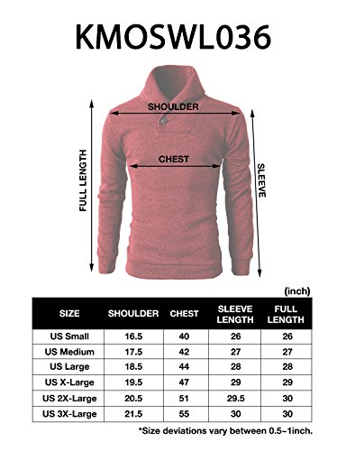 H2H Mens Knited Slim Fit Pullover Sweater Shawl Collar With One Button Point BLACK US M/Asia L (KMOSWL036)