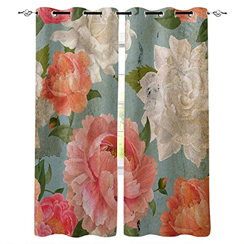 LUOWAN Blackout Curtains For Bedroom Living Rooms Kids Kitchen Window 3D Digital Printing Curtains Eyelet - 55x63 inch - Red flowers plants art - Blackout And Noise Reduction Curtains