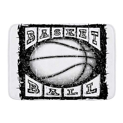 N\A Tapis de Bain en Microfibre Tapis, Inscription de Ballon de Basket-Ball Action Sports Loisirs Athlète Attaque Baller Basket Champion Shot, Tapis de Salle de Bain Tapis antidérapant