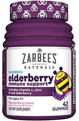 Zarbee's Naturals Children's Elderberry Immune Support with Vitamin C & Zinc, Natural Berry Flavor, 42 Gummies from Zarbee's Naturals