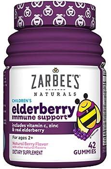 Zarbee s Naturals Children s Elderberry Immune Support with Vitamin C & Zinc Natural Berry Flavor 42 Gummies