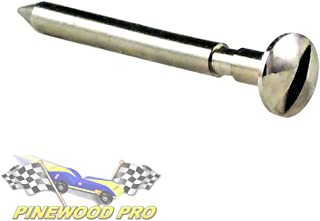 Bent 1.5 Degree Pinewood Derby Axle with Easy Turn Screw Driver Slot – Polished Nickel Plated PRO Grooved Steering Axle (1 Axle)