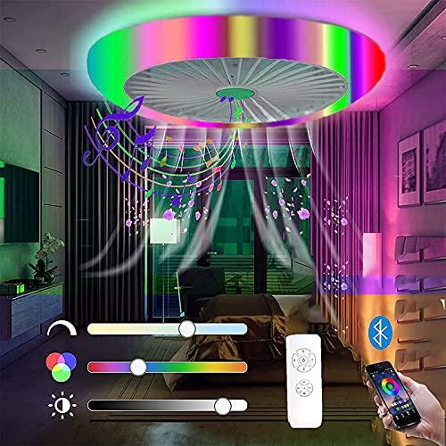 RGB Plafoniera da Soffitto LED Ventilatore da Soffitto con Luce 72W Musica Ventilatori a Soffitto con Altoparlante Bluetooth Dimmerabile Lampada da Soffitto con Telecomando e APP, 3000K-6500K, 45cm