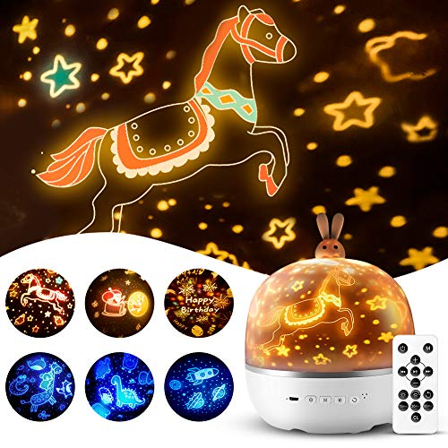 Star Projector, Baby Kids Bunny Nursery Toddler Cute Night Light Girls, Sleep Timer Music Bluetooth Battery Lullaby Lamp Bedroom Ceiling Birthday Planet Universe Dinosaur Toys - Remote