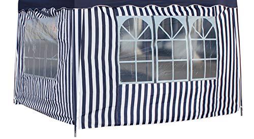 Seitenteile 2 Stück á 3 m mit je 1 Fenster blau-weiß für Faltpavillon 3 x 3 m Seitenwand