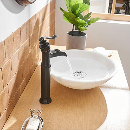 BWE Vessel Sink Faucet Oil Rubbed Bronze Farmhouse Waterfall Spout Tall Body Single Hole with Brass Pop Up Drain Assembly Without Overflow Antique Bathroom Rustic Lavatory Vanity Faucets Commercial