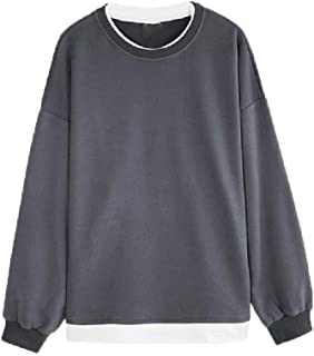 Howely Men's Pure Color Two Piece Sweatshirts Crewneck Pullover Tees Top