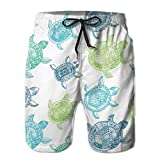 artyly Shorts de Playa de Secado rápido para Hombre, Tortugas, Forro de Malla Azul, bañador de Surf, bañador con Bolsillos, Talla XXL