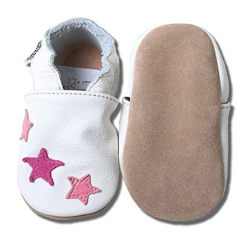 HOBEA-Germany Baby Krabbelschuhe, Lederschuhe, weiß mit pinken Sternchen, Schuhgröße:20/21 (12-18 Monate)