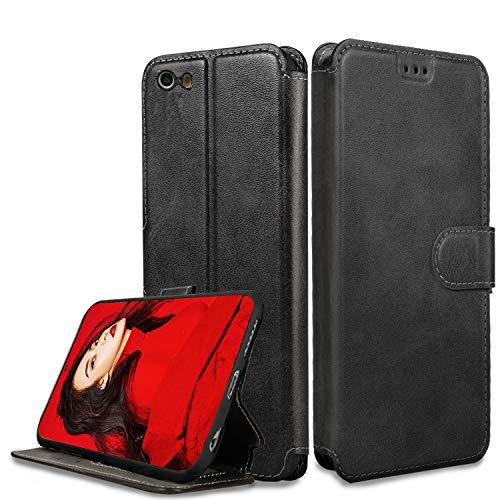 LeYi Hülle iPhone 5S SE 5 (Nicht für SE 2020) Mit HD Folie Schutzfolie,Leder Wallet Etui Handyhülle Magnet Tasche Slim Silikon Soft Bumper TPU Schutzhülle Cover Case für Handy iPhone 5S Matt Schwarz