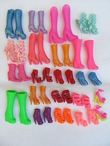 Fat-Catz - 10 oder 20 Paar hochwertige modische Schuhe mit Absatz, Stiefel aus Silikon für Barbie Sindy Puppen (Nicht Mattel) Outfit Kleid Spielzeug - versandt aus London - 10 Paar Puppen Stiefel