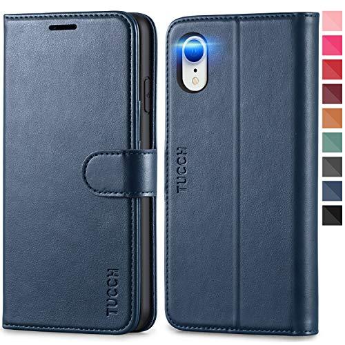 TUCCH iPhone XR Hülle, Magnetische Handyhülle [Schützt vor Stößen] [RFID Schutz] [Lifetime Garantie], TPU Klappbare Schutzhülle Kartenfach Stand, Lederhülle Kompatibel für iPhone XR (6,1) Dunkelblau